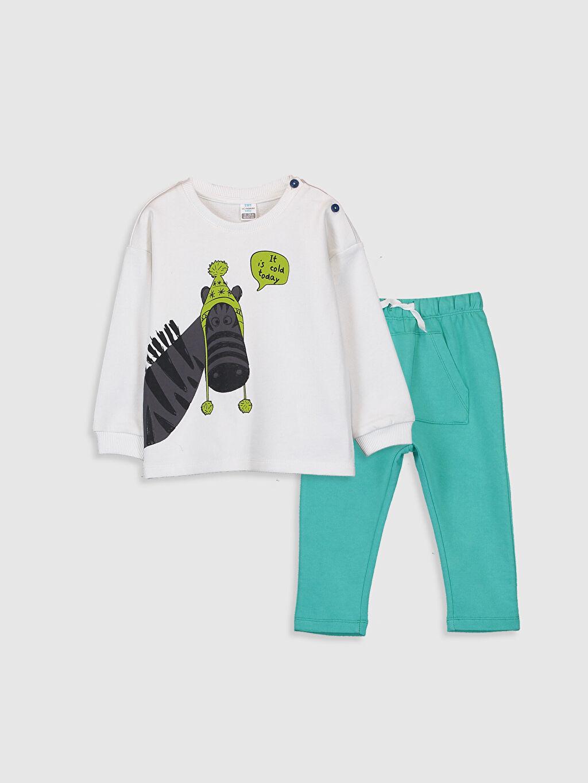Ekru Erkek Bebek Sweatshirt ve Pantolon 9WT684Z1 LC Waikiki