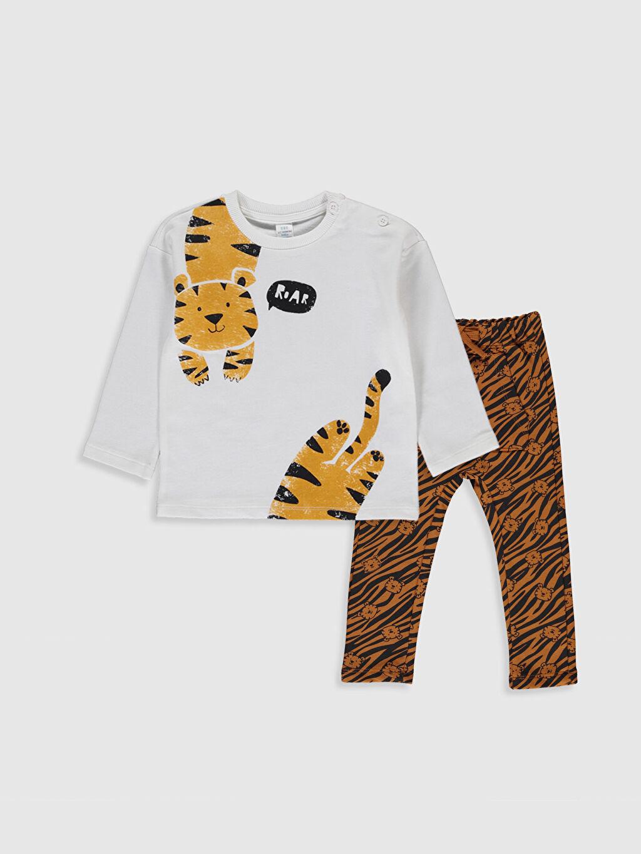 Ekru Erkek Bebek Baskılı Tişört ve Pantolon 9WT705Z1 LC Waikiki