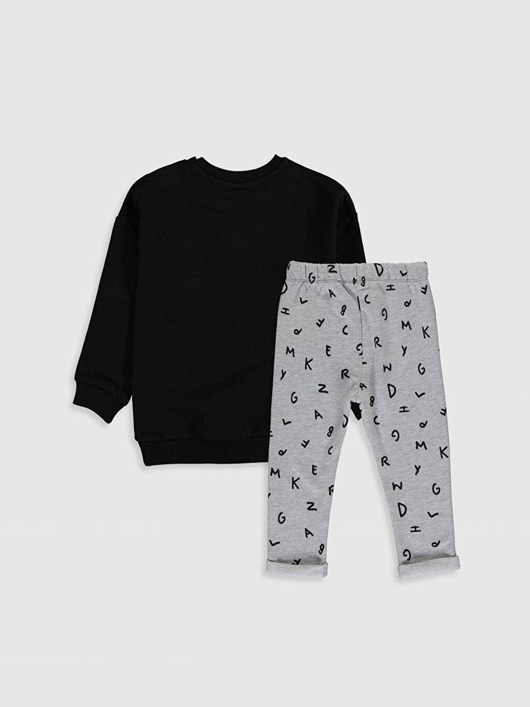 %49 Pamuk %51 Polyester %36 Pamuk %64 Polyester  Erkek Bebek Yazı Baskılı Sweatshirt ve Pantolon