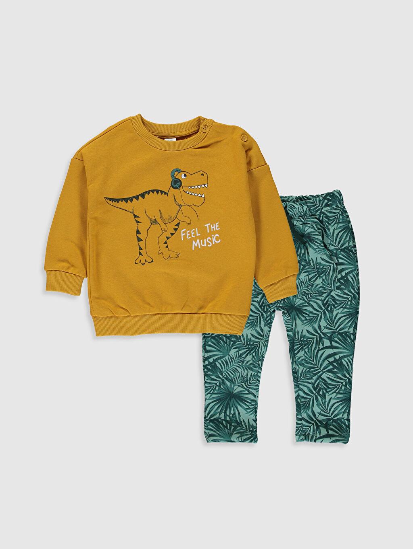 Sarı Erkek Bebek Baskılı Sweatshirt ve Pantolon 9WT737Z1 LC Waikiki