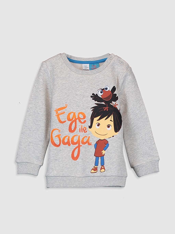Gri Erkek Bebek Ege ile Gaga Baskılı Sweatshirt 9WT816Z1 LC Waikiki