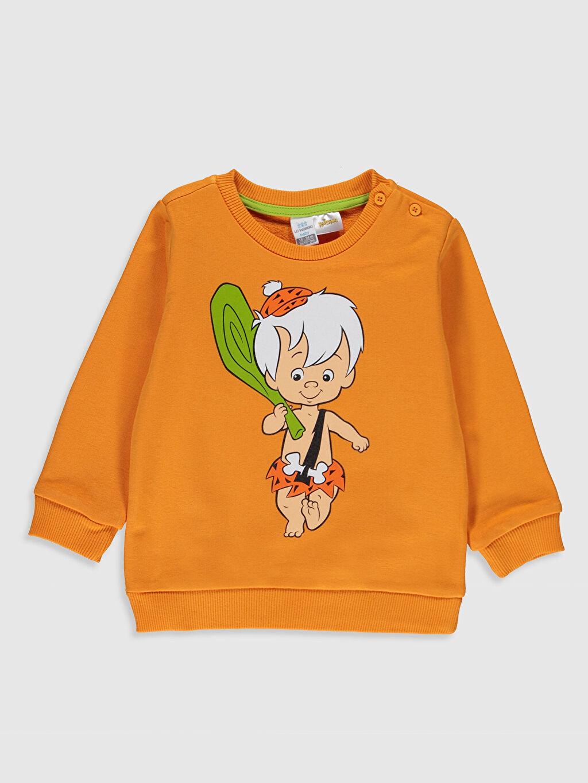 Turuncu Erkek Bebek Bam Bam Baskılı Sweatshirt 9WT846Z1 LC Waikiki