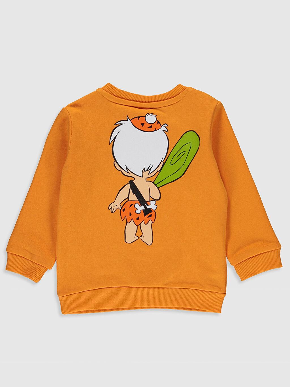 %84 Pamuk %16 Polyester  Erkek Bebek Bam Bam Baskılı Sweatshirt