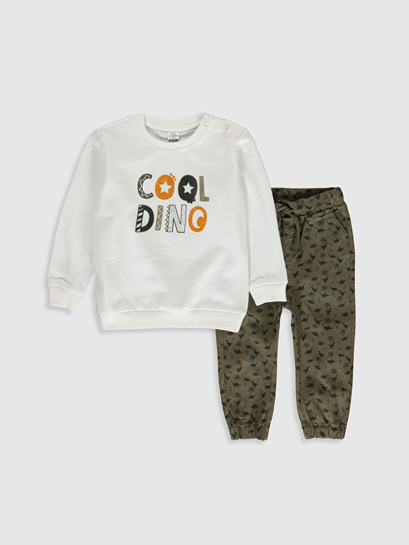 Ekru Erkek Bebek Sweatshirt ve Pantolon 9WU029Z1 LC Waikiki