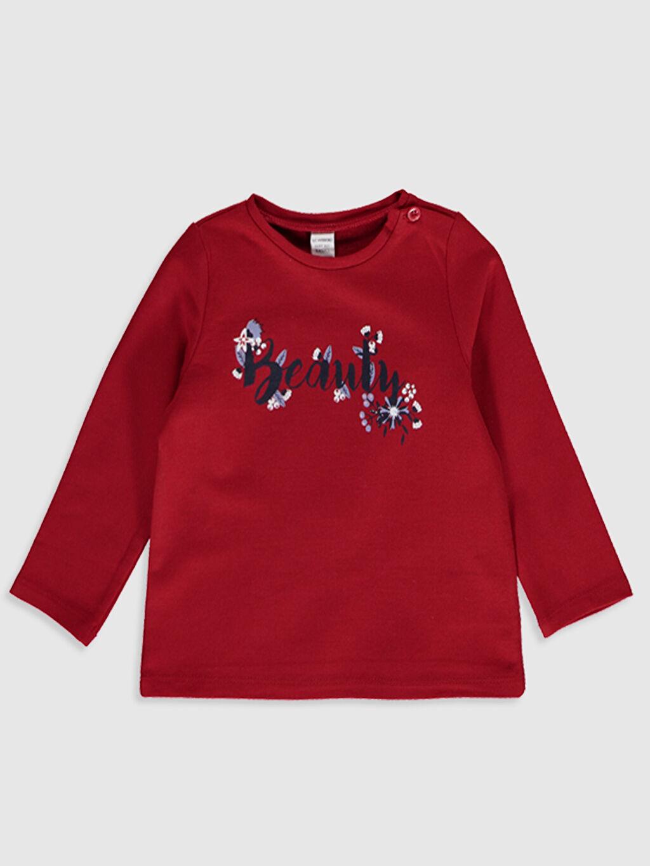 Kırmızı Kız Bebek Yazı Baskılı Sweatshirt 9WU226Z1 LC Waikiki