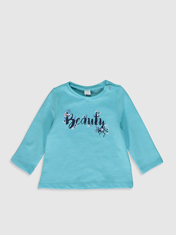 Mavi Kız Bebek Yazı Baskılı Sweatshirt 9WU226Z1 LC Waikiki