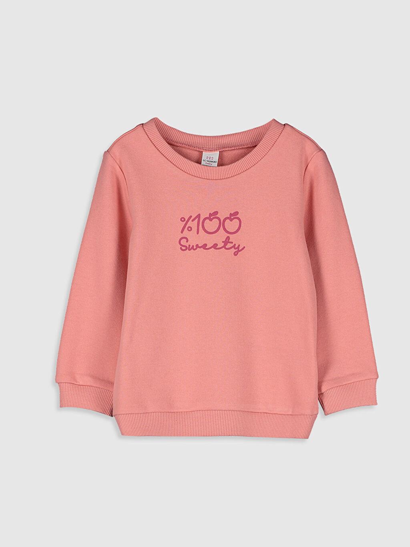 Pembe Kız Bebek Yazı Baskılı Sweatshirt 9WU441Z1 LC Waikiki