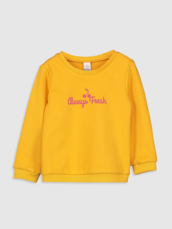 Turuncu Kız Bebek Yazı Baskılı Sweatshirt 9WU441Z1 LC Waikiki