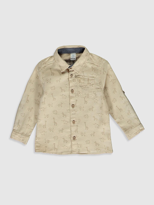 Bej Erkek Bebek Desenli Twill Gömlek 9WU460Z1 LC Waikiki