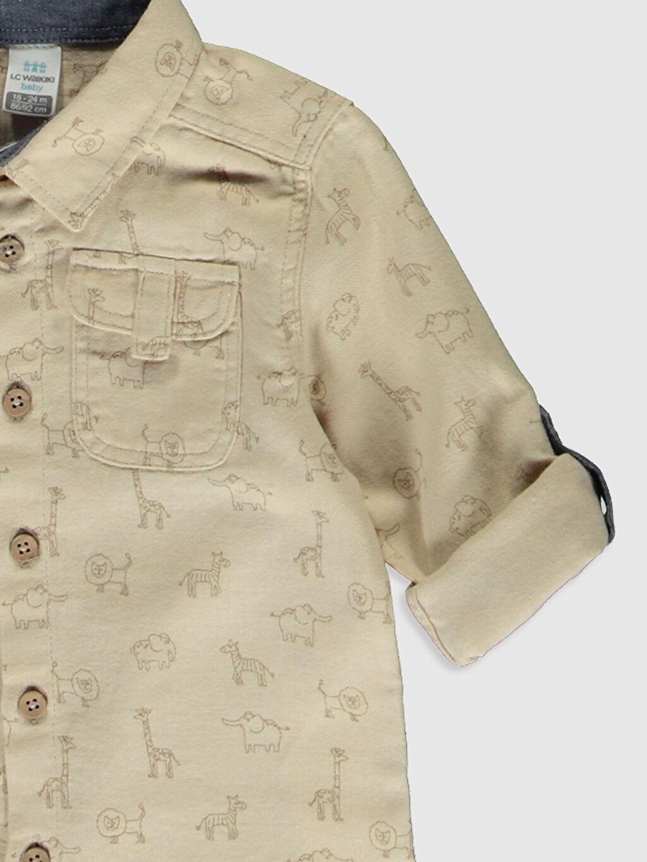 Erkek Bebek Erkek Bebek Desenli Twill Gömlek