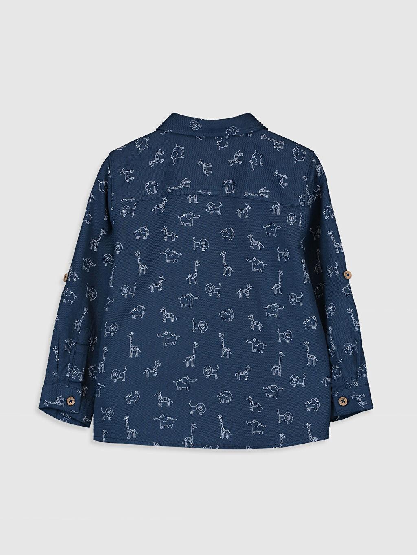 %100 Pamuk Standart Desenli Uzun Kol Erkek Bebek Desenli Twill Gömlek