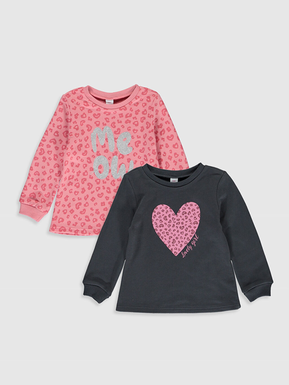 Pembe Kız Bebek Desenli Sweatshirt 2 li 9WU556Z1 LC Waikiki