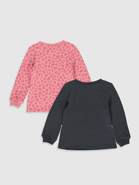 %71 Pamuk %29 Polyester  Kız Bebek Desenli Sweatshirt 2 li