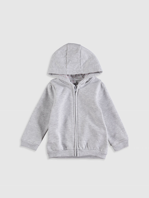 Gri Kız Bebek Kapüşonlu Fermuarlı Sweatshirt 9WU791Z1 LC Waikiki