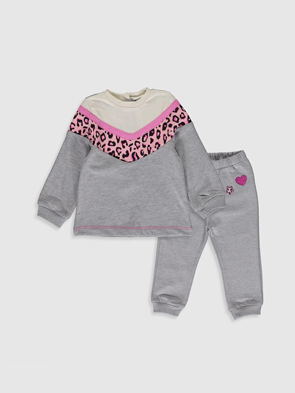 Gri Kız Bebek Sweatshirt ve Tayt Takım 9WU810Z1 LC Waikiki