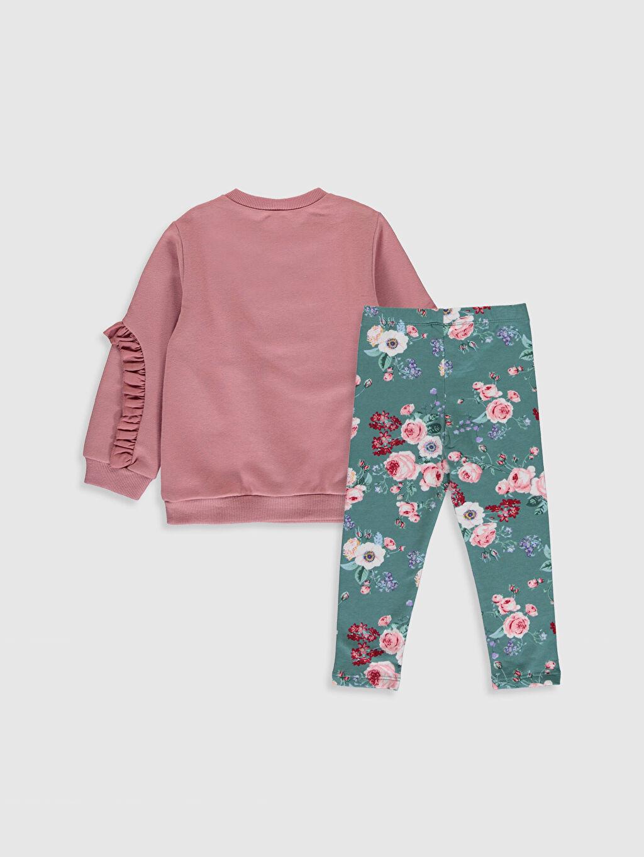%100 Pamuk  Kız Bebek Sweatshirt ve Tayt Takım