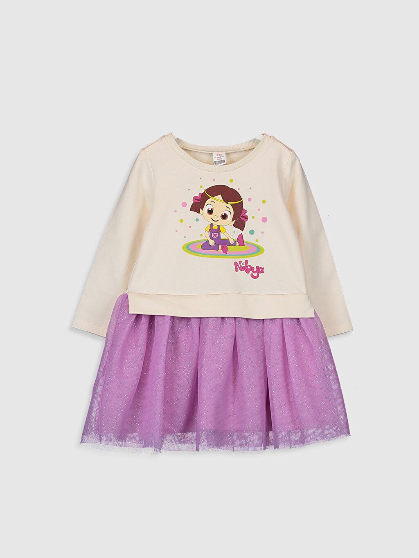 Bej Kız Bebek Niloya Desenli Elbise 9WY271Z1 LC Waikiki
