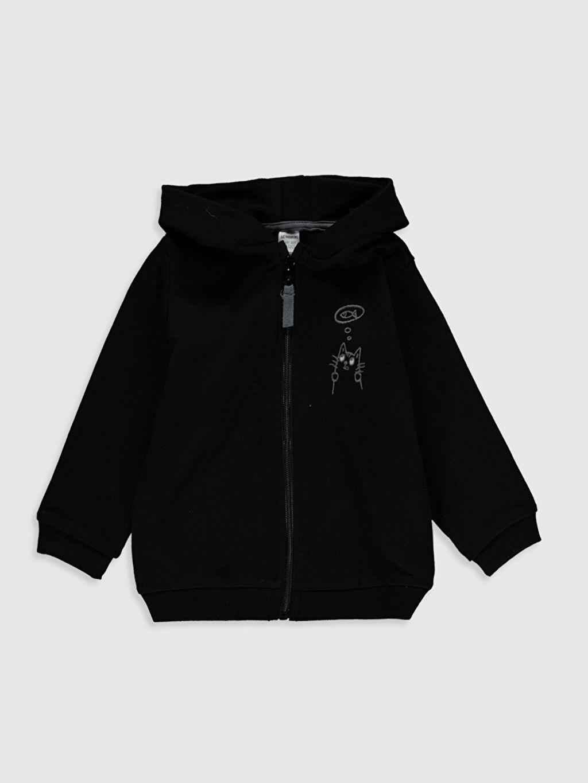 Siyah Erkek Bebek Kapüşonlu Fermuarlı Sweatshirt 9WY307Z1 LC Waikiki