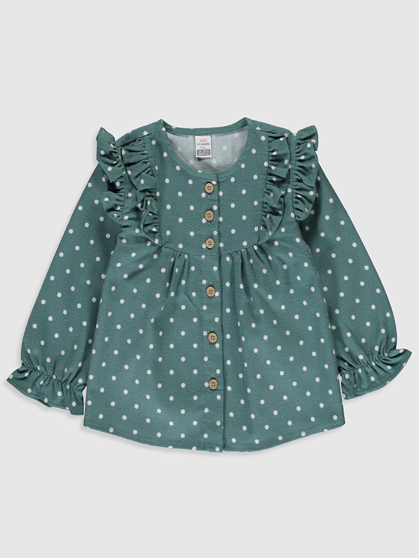 Yeşil Kız Bebek Puantiyeli Flanel Gömlek 9WY345Z1 LC Waikiki