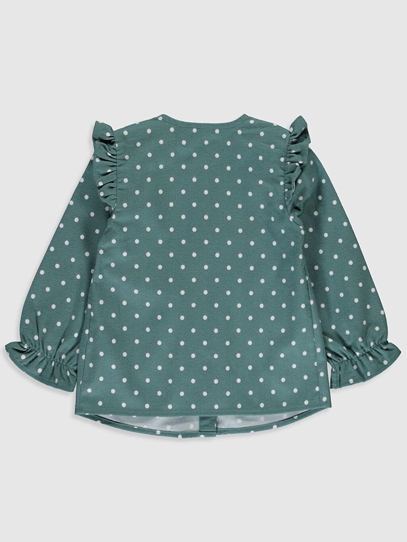 %100 Pamuk  Kız Bebek Puantiyeli Flanel Gömlek
