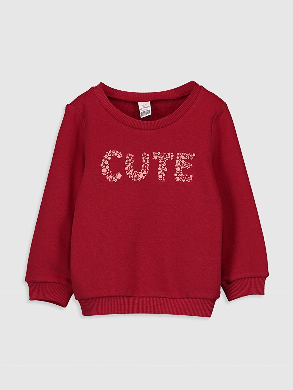 Kırmızı Kız Bebek Baskılı Sweatshirt 9WY400Z1 LC Waikiki
