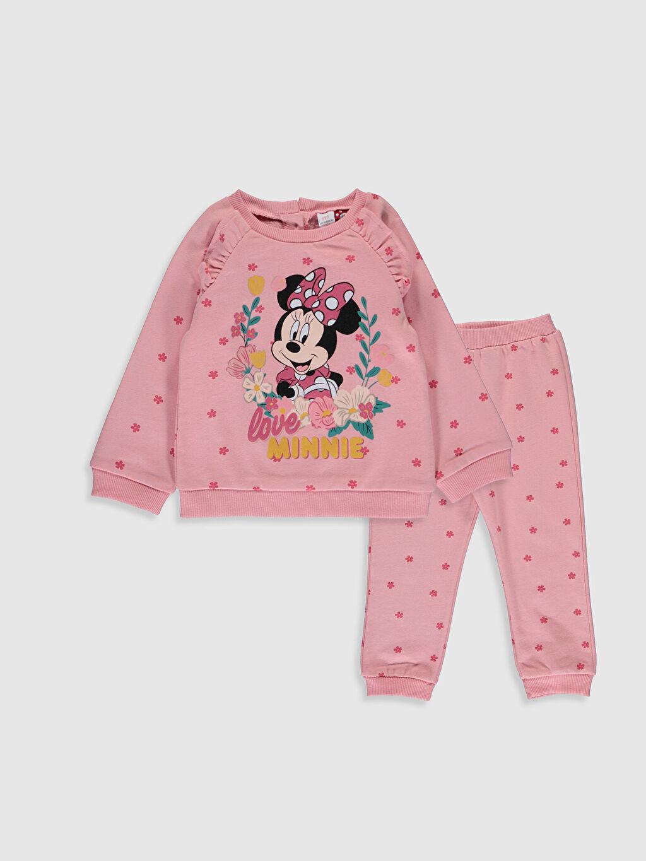 Pembe Kız Bebek Minnie Mouse Sweatshirt ve Pantolon 9WY476Z1 LC Waikiki