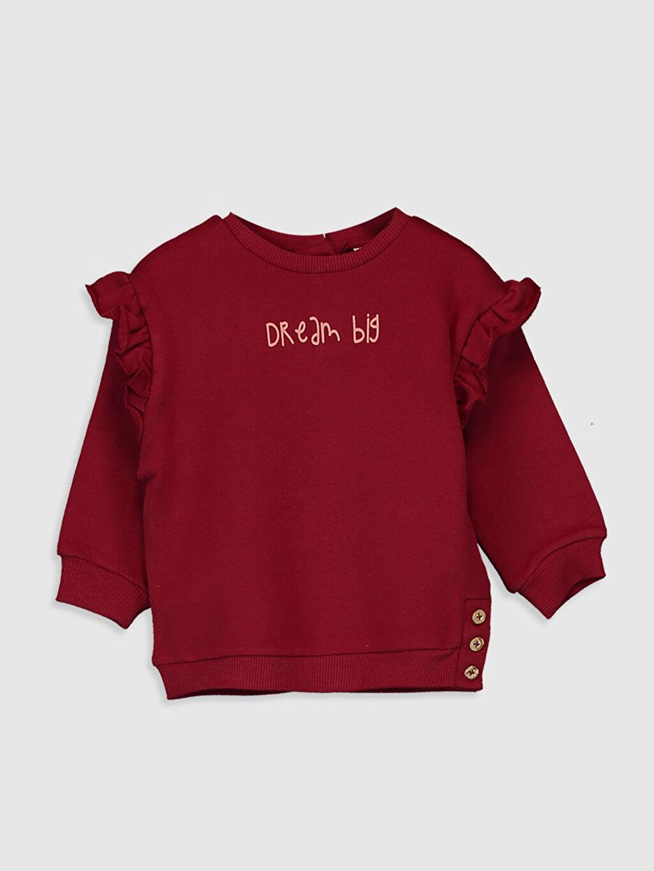 Kırmızı Kız Bebek Fırfırlı Sweatshirt 9WY525Z1 LC Waikiki