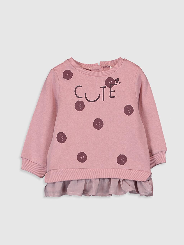 Pembe Kız Bebek Baskılı Sweatshirt 9WY761Z1 LC Waikiki