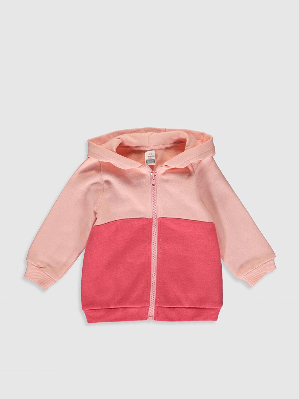 Pembe Kız Bebek Kapüşonlu Fermuarlı Sweatshirt 9WY787Z1 LC Waikiki