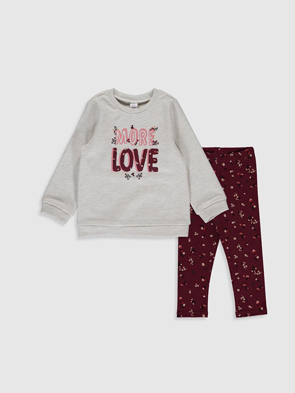 Ekru Kız Bebek Baskılı Sweatshirt ve Tayt 9WA324Z1 LC Waikiki