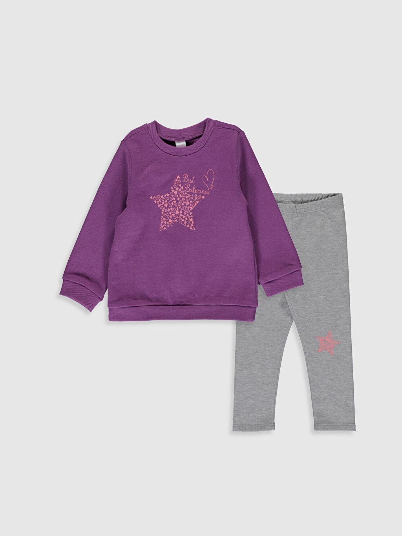 Gri Kız Bebek Baskılı Sweatshirt ve Pantolon 9WA327Z1 LC Waikiki