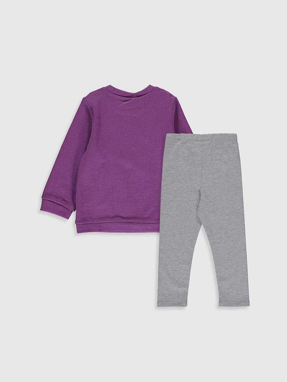 %48 Pamuk %46 Polyester %6 Elastan  Kız Bebek Baskılı Sweatshirt ve Pantolon