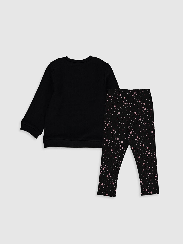 %100 Pamuk  Kız Bebek Baskılı Sweatshirt ve Tayt