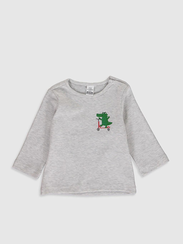 Gri Erkek Bebek Baskılı Pamuklu Tişört 9WB191Z1 LC Waikiki