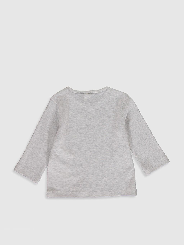 %52 Pamuk %48 Polyester Baskılı Uzun Kol Tişört Bisiklet Yaka Erkek Bebek Baskılı Pamuklu Tişört
