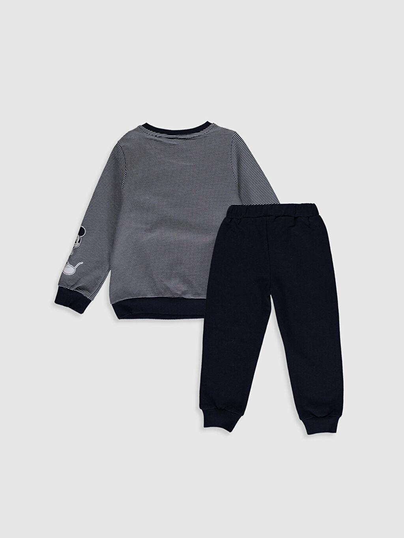 %100 Pamuk %100 Pamuk  Erkek Bebek Mickey Mouse Baskılı Sweatshirt ve Pantolon