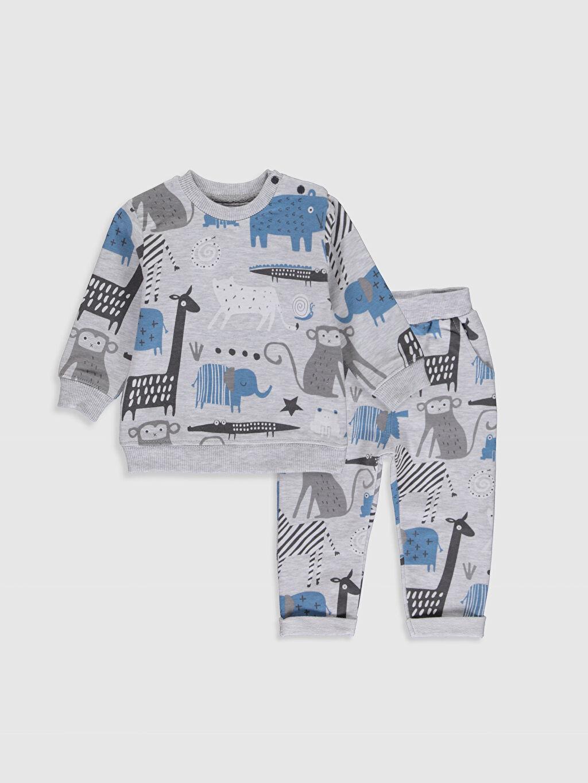 Gri Luggi Baby Yenidoğan Desenli Sweatshirt ve Pantolon 9WB796Z1 LC Waikiki