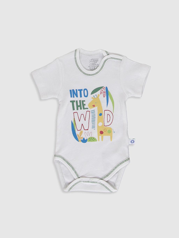 Beyaz Luggi Baby Yenidoğan Desenli Çıtçıtlı Body 9WB874Z1 LC Waikiki