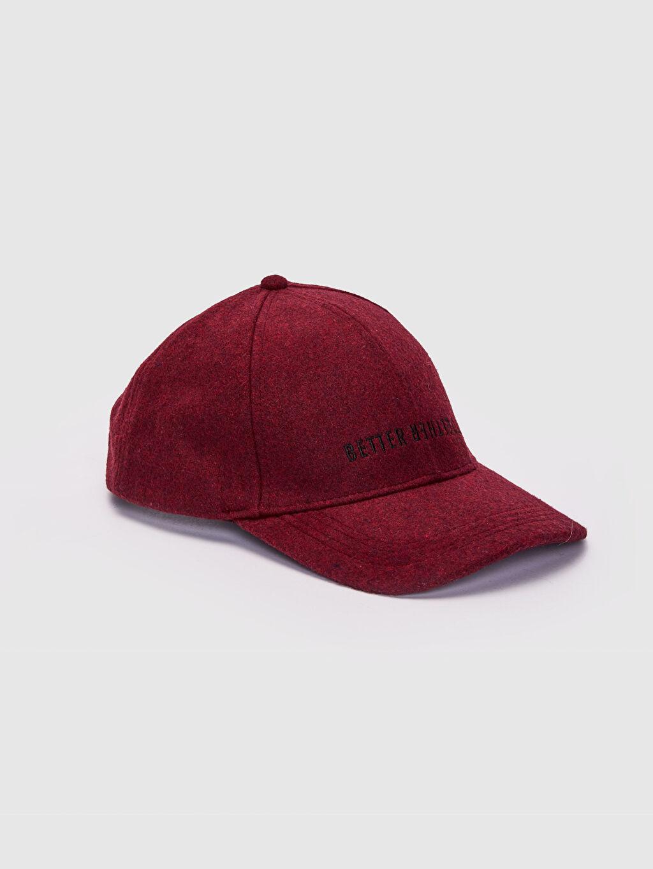 Bordo Yazı Nakışlı Kaşe Şapka 0S0098Z8 LC Waikiki