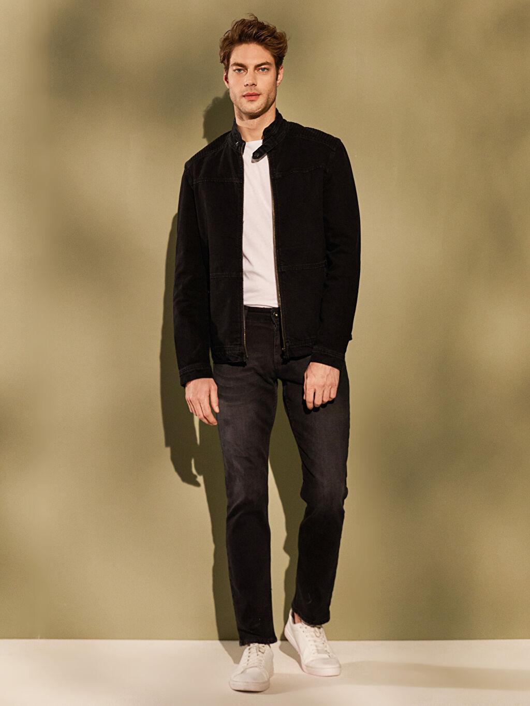 %100 Pamuk  Standart Kalıp Basic Jean Ceket