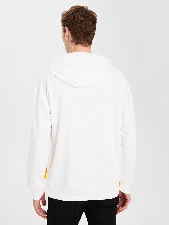 %70 Pamuk %30 Polyester Kapüşonlu Baskılı Kalın Sweatshirt