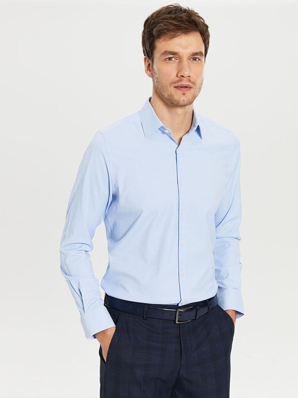 %54 Pamuk %46 Polyester Dar Düz Uzun Kol Gömlek Düğmesiz Slim Fit Uzun Kollu Oxford Gömlek