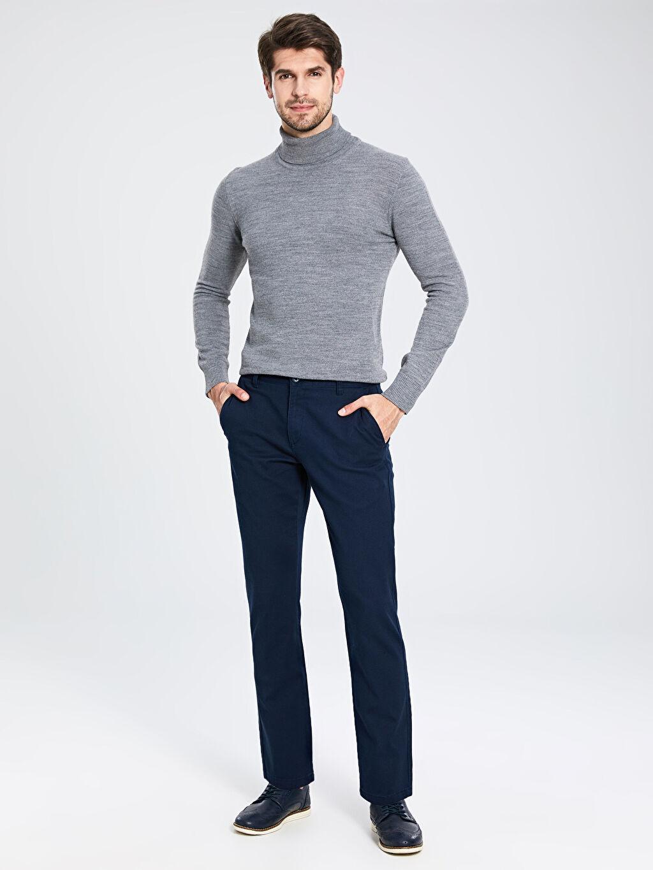 %98 Pamuk %2 Elastan Normal Bel Normal Pilesiz Pantolon Standart Kalıp Armürlü Pantolon