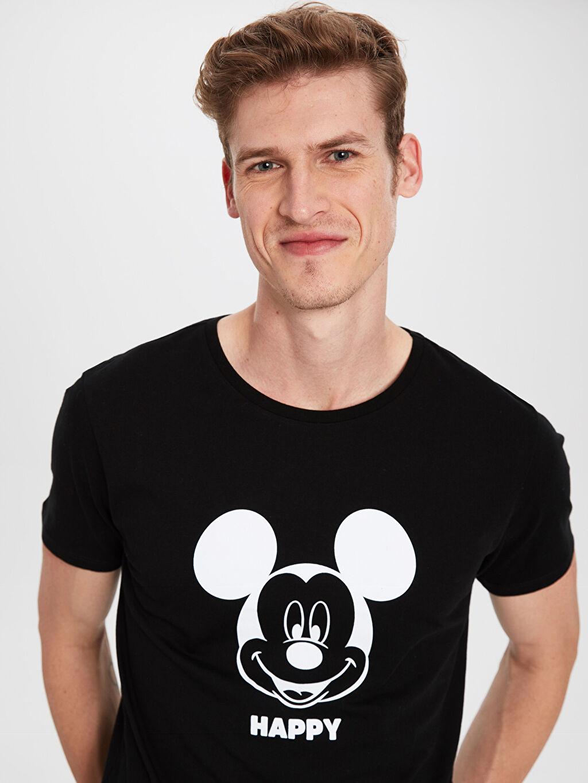 Erkek Mickey Baskılı Bisiklet Yaka Penye Tişört