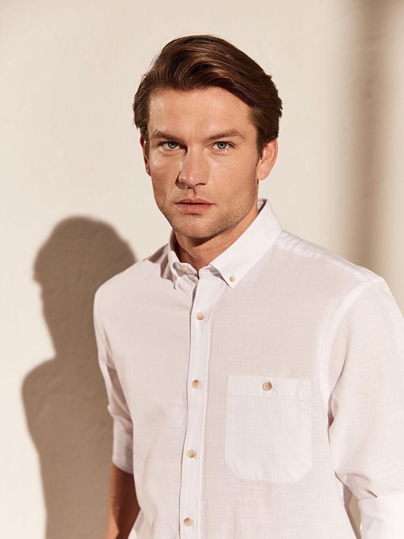 Beyaz Regular Fit Kırçıllı Gömlek 0S1369Z8 LC Waikiki