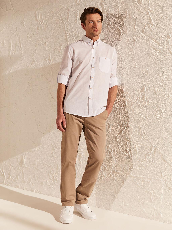 LC Waikiki Beyaz Regular Fit Kırçıllı Gömlek