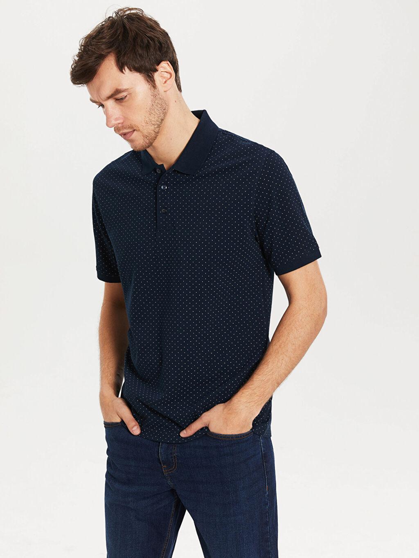 %100 Pamuk Baskılı Standart Kısa Kol Tişört Polo Polo Yaka Puantiyeli Tişört