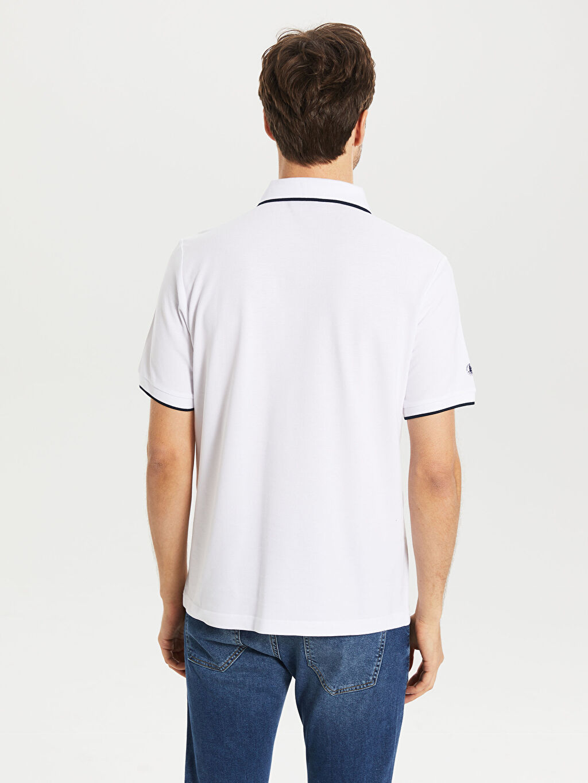%100 Pamuk Çizgili Kısa Kollu Polo Tişört