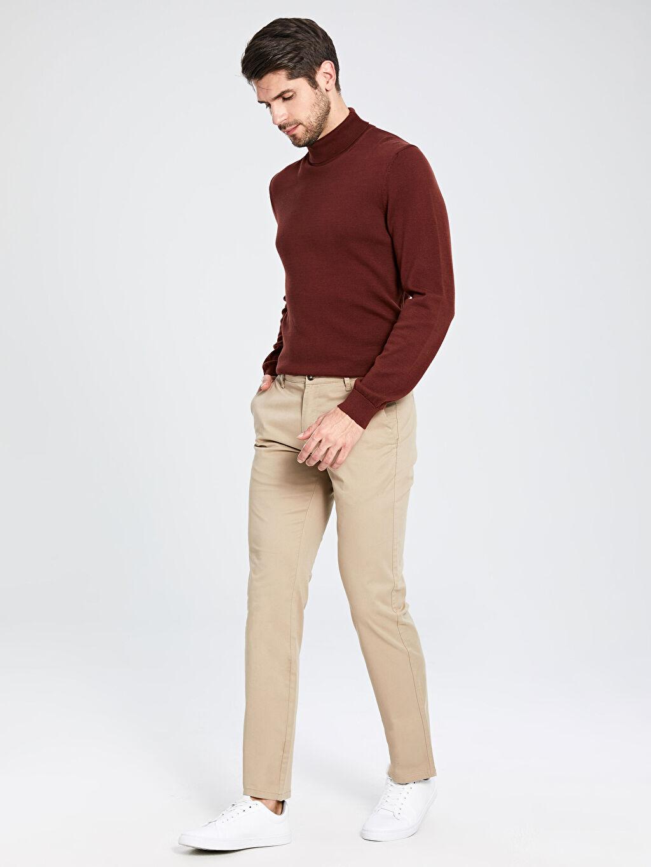 %97 Pamuk %3 Elastan  Normal Kalıp Gabardin Chino Pantolon