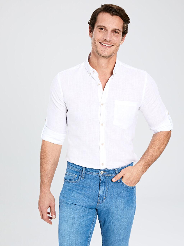 Beyaz Regular Fit Basic Keten Gömlek 0S1744Z8 LC Waikiki